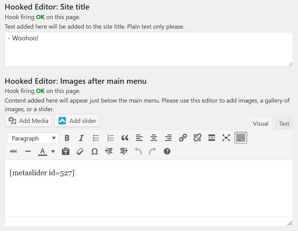 Hooked editors for tagline and slider